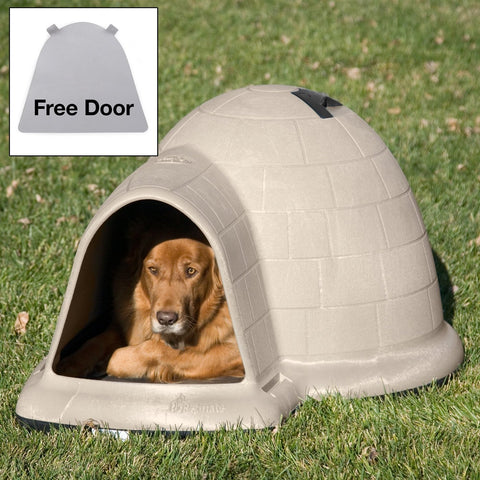 Large 43.8 Inch Igloo Shape Weather Resistant Dog House In Tan