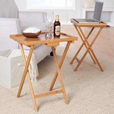 Set Of 2 Bamboo Wood TV Table Snack Coffee Tables In Natural