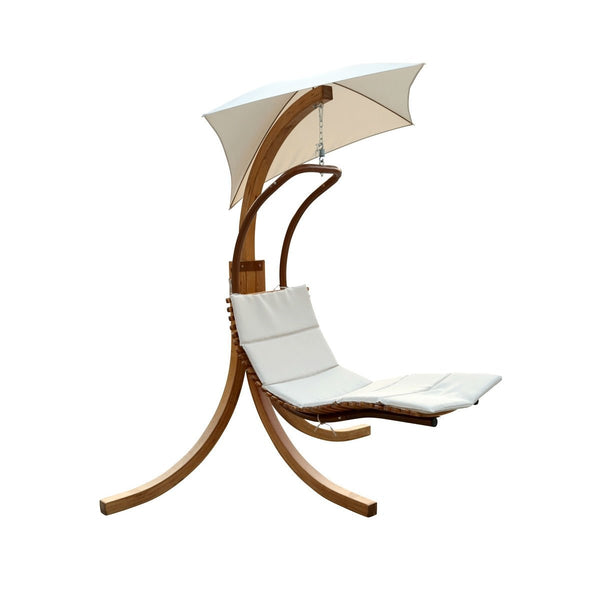 Modern Porch Swing Lounger Chair With Umbrella & Cushion