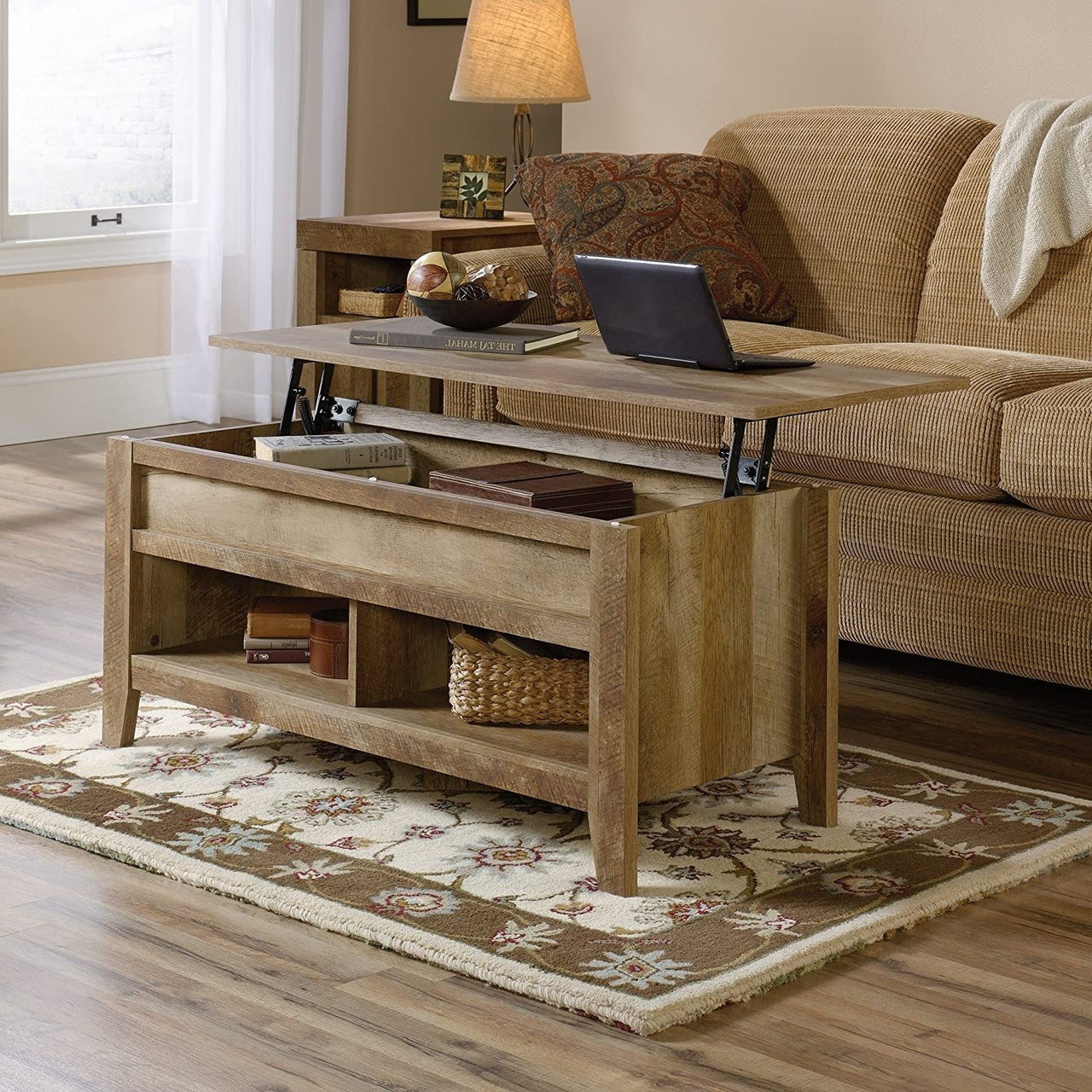 Rustic Farmhouse Oak Lift Top Coffee Table