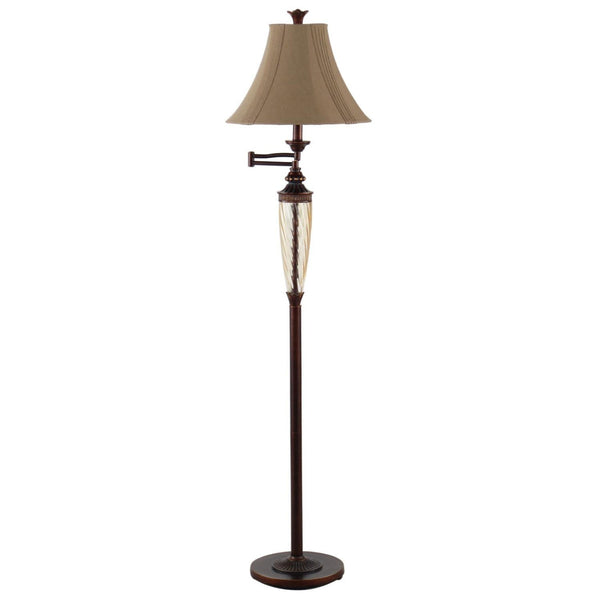 Swing Arm Floor Lamp in Bronze Finish with Brown Shade