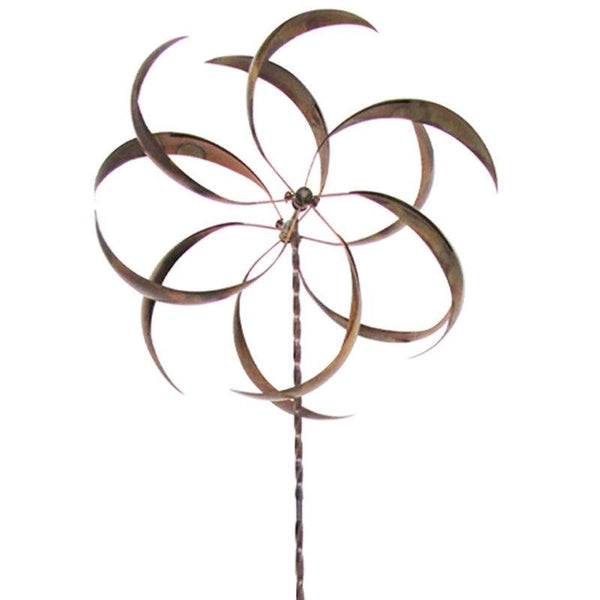 Metal Curved Leaf Spinning Outdoor Garden Wind Spinner with Stake