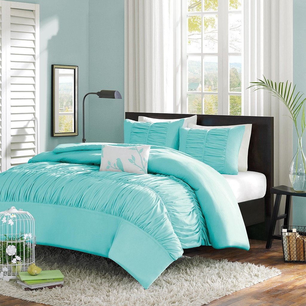 Twin / Twin XL Mint Blue Light Teal Rouched Fabric Comforter Set