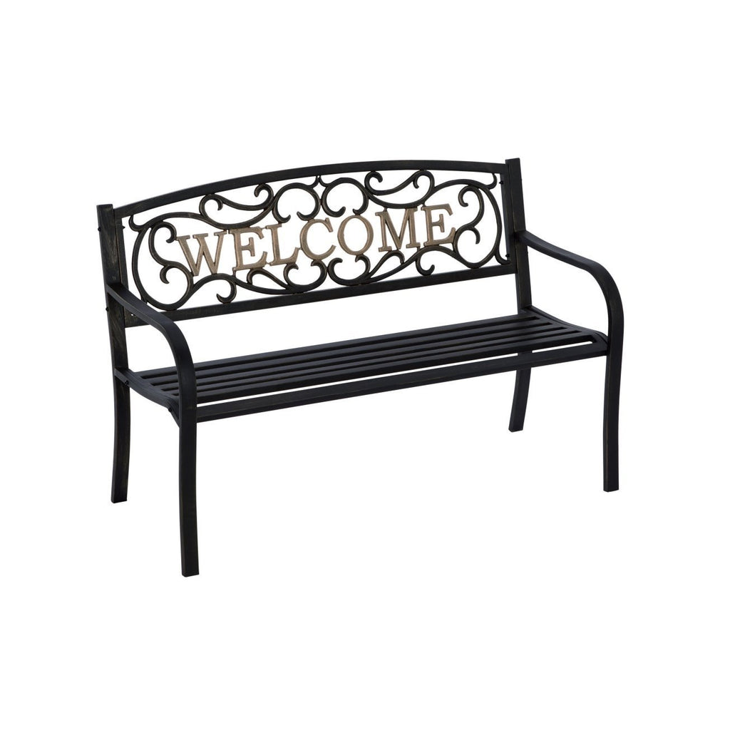 Cast Iron Welcome Park Bench Outdoor Patio Garden In Black Bronze