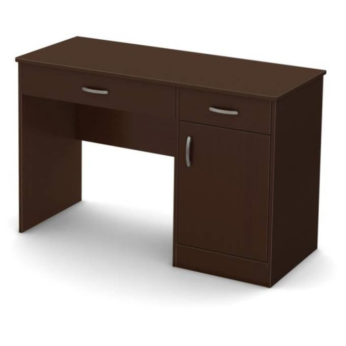 Modern Home Office Computer Desk in Chocolate Wood Finish
