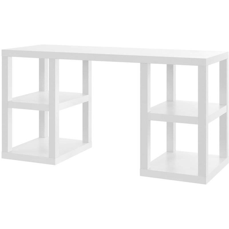 Modern Home Office Computer Desk in White Wood Finish