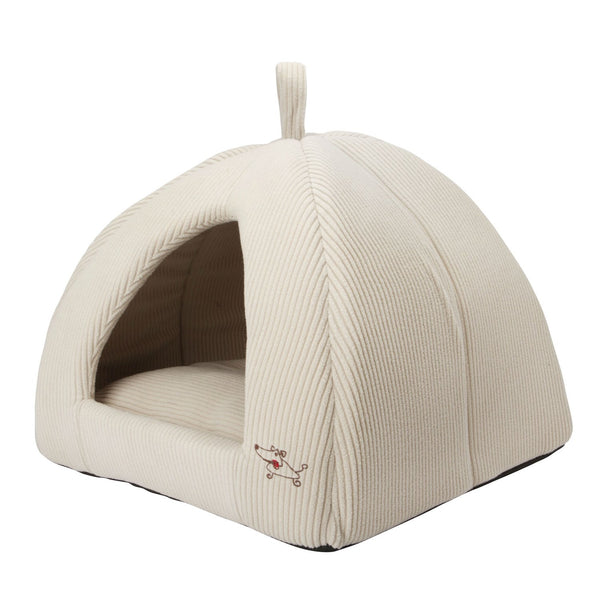 Beige Medium Size Dog Bed Dome Tent - Machine Washable