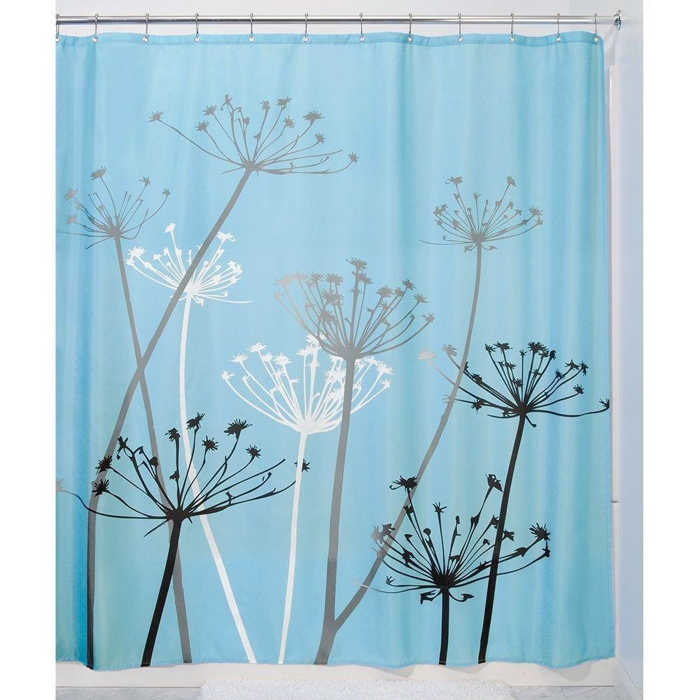 Black & Blue Thistle Flower Fabric Shower Curtain