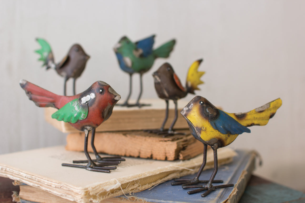 Set Of 5 Recycled Metal Birds