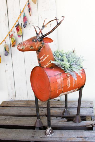 Red Reclaimed Metal Barrel Deer Planter Or Cooler