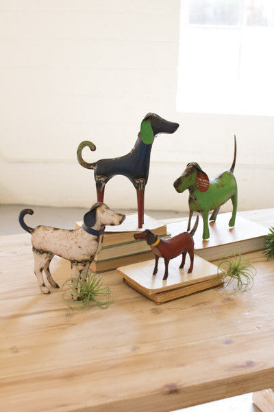 Set Of 4 Recycled Painted Iron Dogs