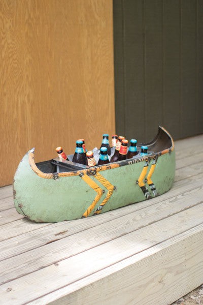 Recycled Metal Canoe Planter Cooler