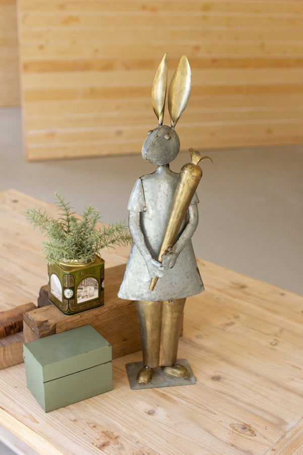 Galvanized & Brass Rabbit With Carrot