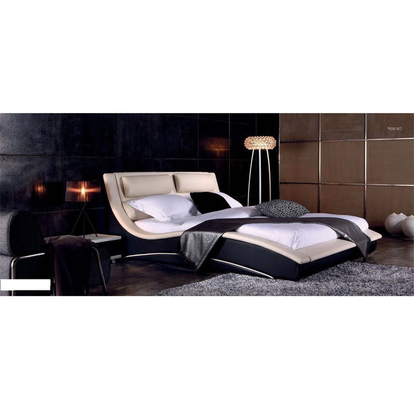 California King Modern Faux Leather Upholstered Platform Bed With Headboard In Cream Black