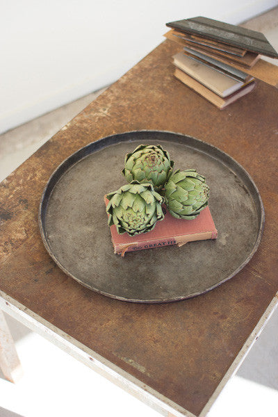 Set Of 4 Round Rustic Galvanized Trays