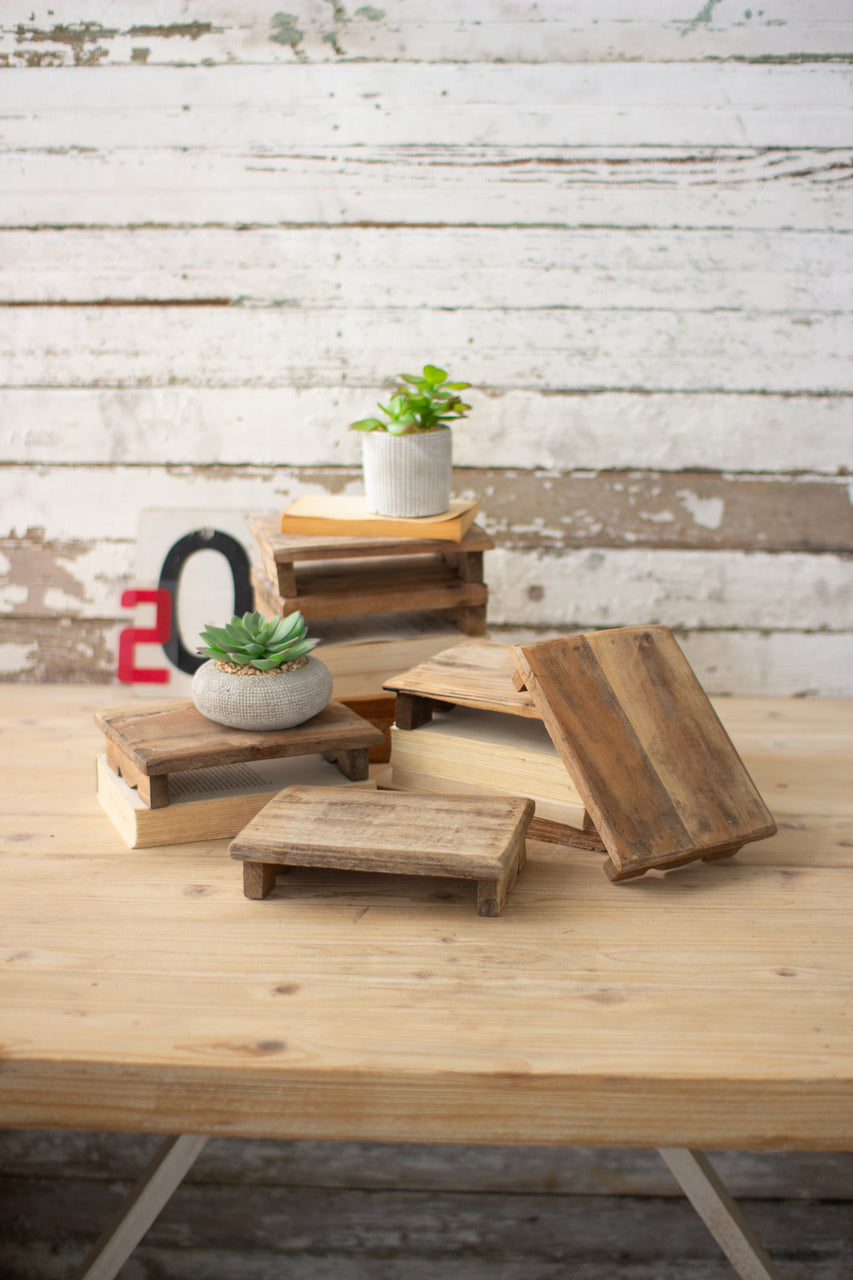 Repurposed Rectangle Wooden Risers - Set Of 6