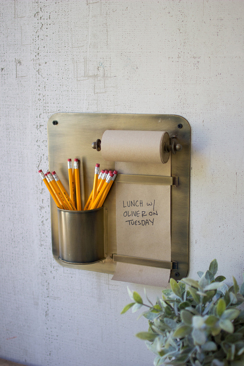 Note Roll With Antique Brass Wall Rack With Pencil Holder