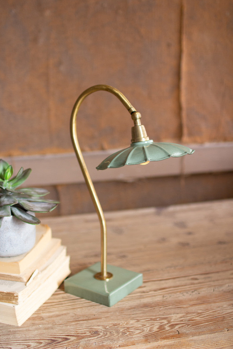 Antique Brass Goose Neck Table Lamp With Enamel Shade