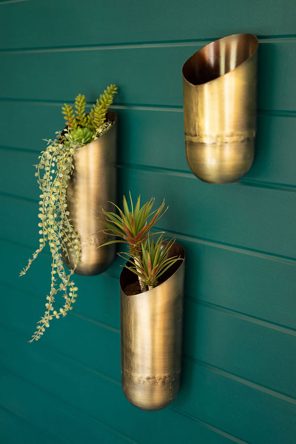 Set Of 3 Antique Brass Wall Vases