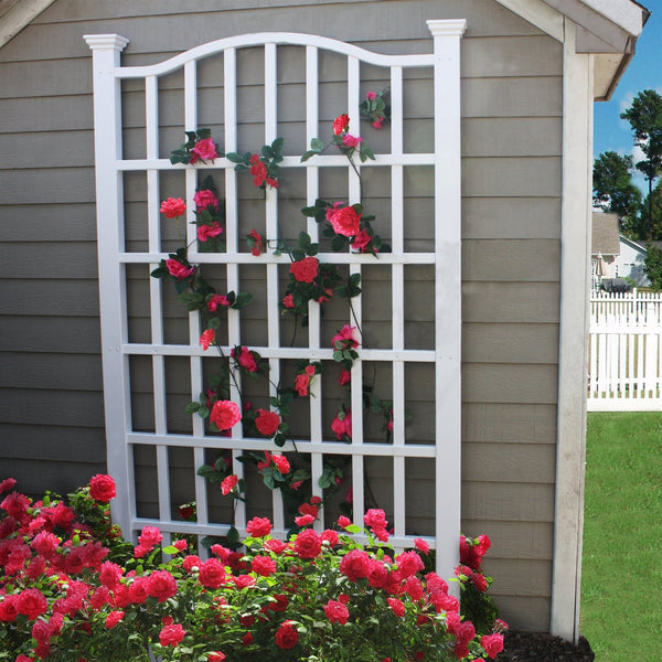 7.5 Ft Garden Trellis in White Vinyl with Arch Top