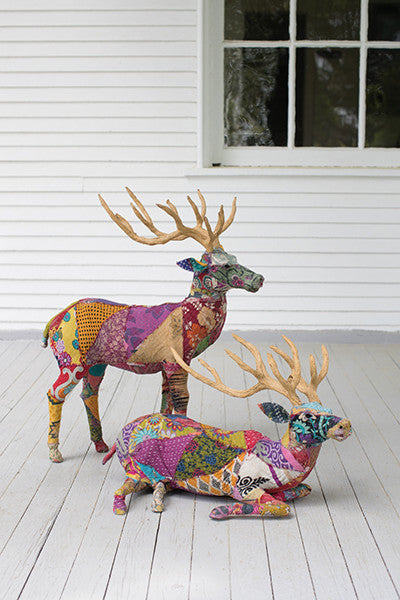 Set of 2 Deer With Recycled Patchwork Cloth