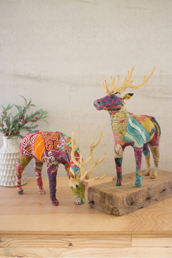 Set of 2 Kantha Covered Reindeer