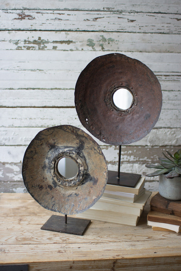 Set of 2 Repurposed Metal Mirrors On Stands
