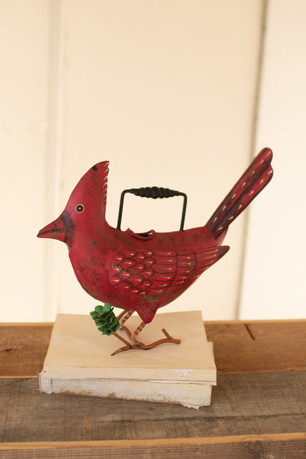 Painted Iron Cardinal Watering Can