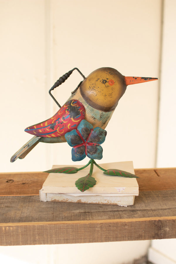 Painted Iron Hummingbird Watering Can