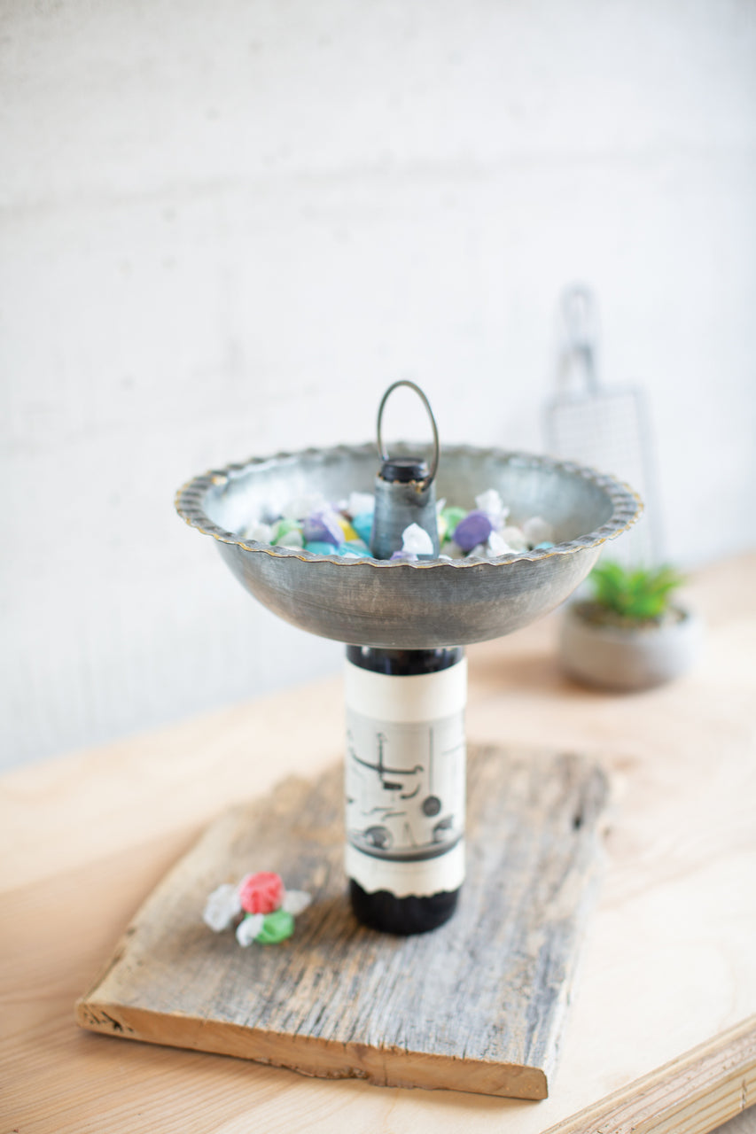 Galvanized Bowl Bottle Topper With Brass Detail