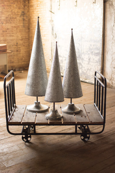 Set Of 3 Galvanized Topiaries With Brass Detail