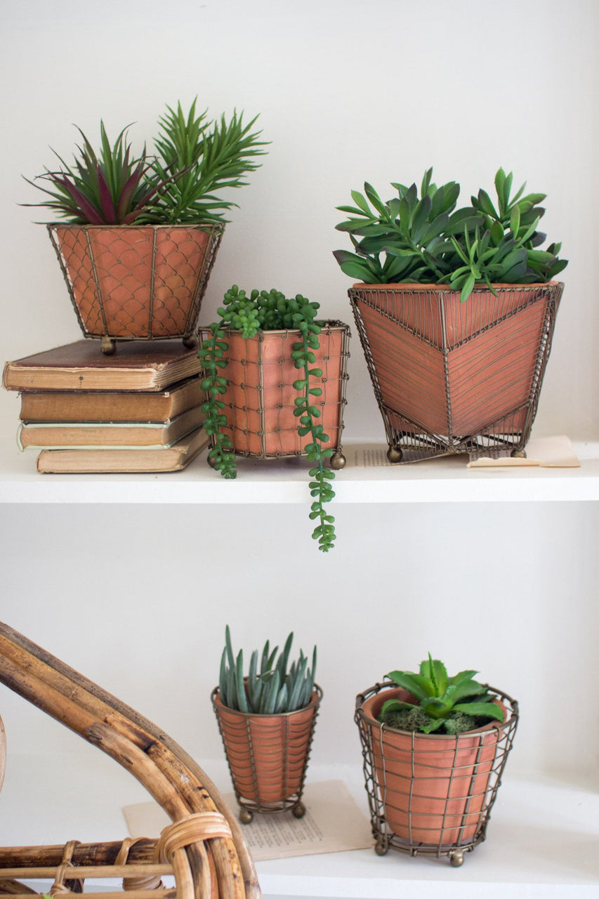 Set Of 5 Terracotta Planters With Wire Wrap & Brass Detail