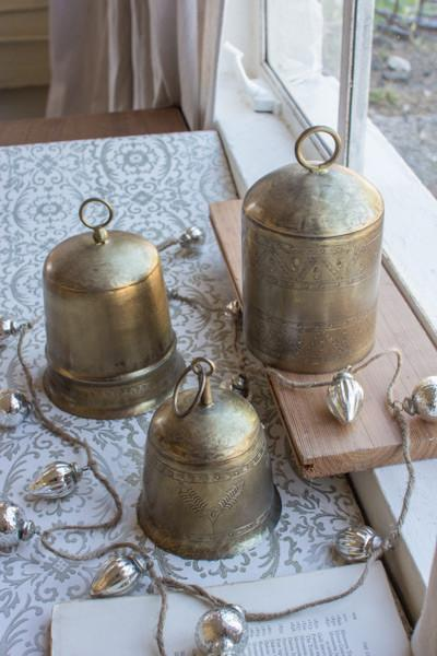 Set Of 3 Brass Finish Bells