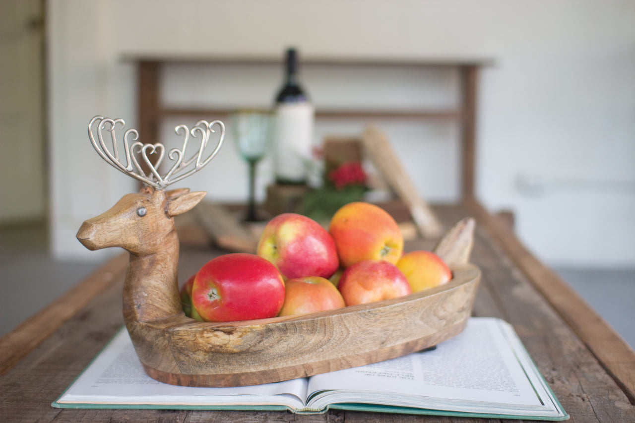 Hand Carved Mango Wood Reindeer Bowl With Metal Ears