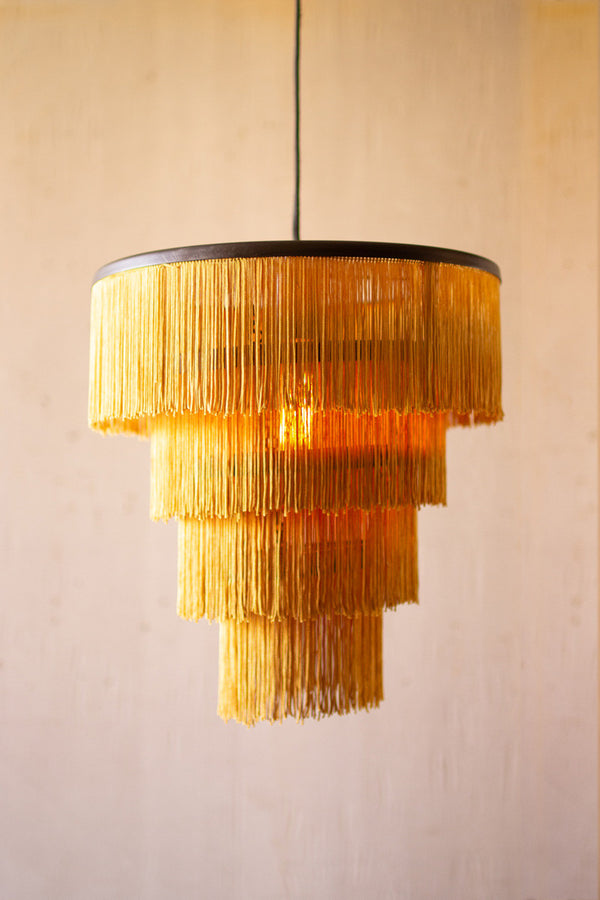 Gold Fringe-Tiered Pendant Light