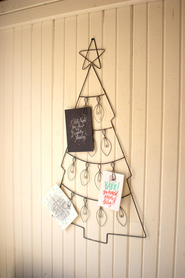 Hanging Wire Christmas Tree Card Holder