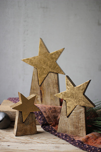 Set of 3 Wooden Star On Base