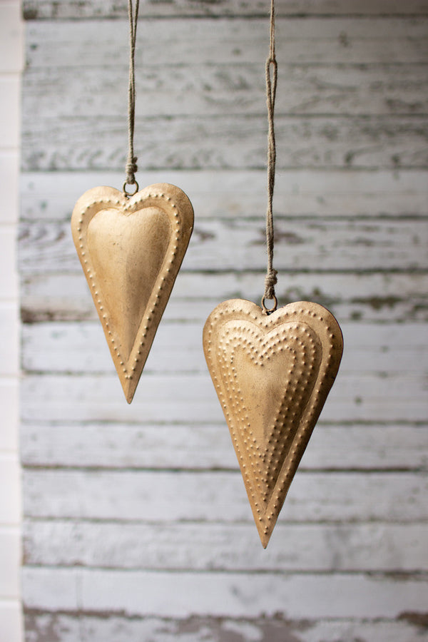 Set Of 2 Antique Brass Metal Hearts
