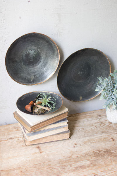 Set Of 3 Black Copper Platters