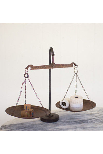 Antique Metal Scale With Weighted Iron Base