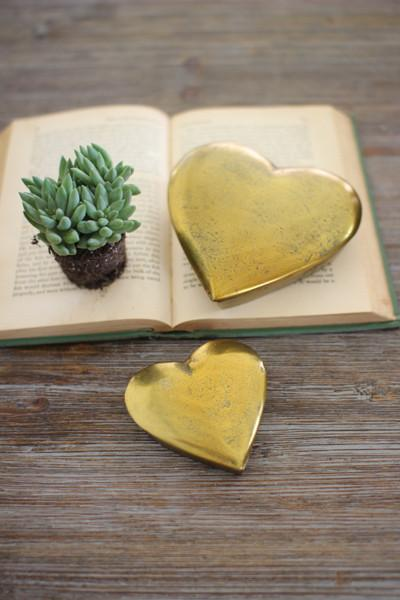 Set Of 2 Cast Aluminum Heart Boxes - Gold