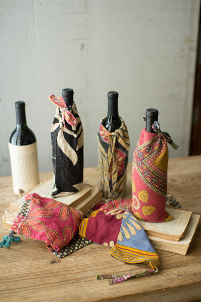 Set Of 6 Kantha Wine Pouches