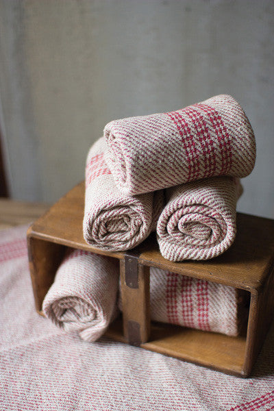Set Of 6 Red Cotton Kitchen Towels