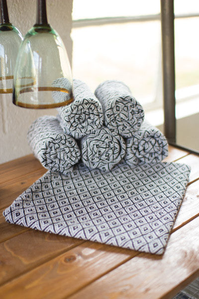 Set Of 6 Cotton Napkins - Black & White Diamonds
