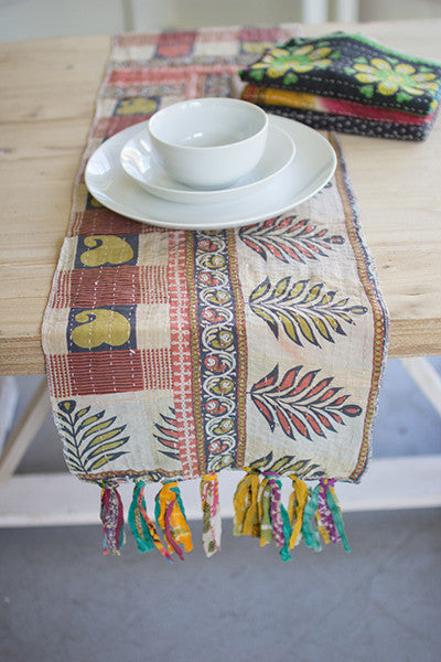 Set of 4 Assorted Kantha Table Runners