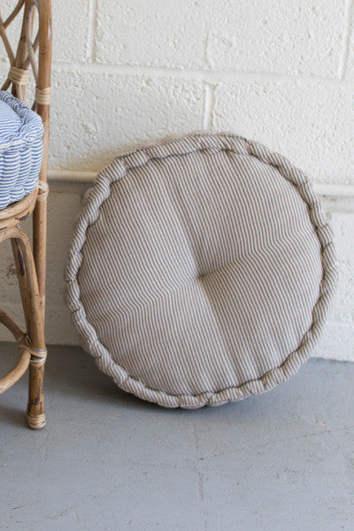 Round Box Cushion - Brown Ticking