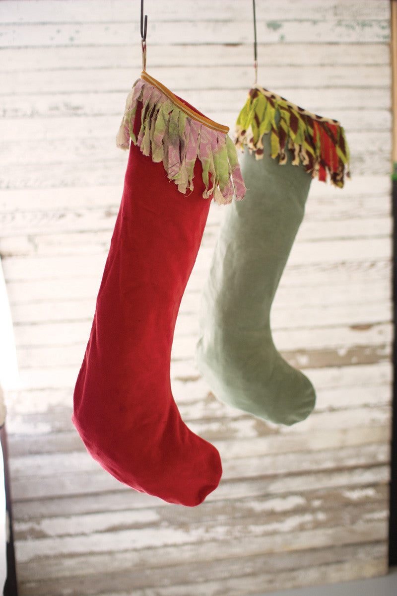 Set of 2 Velvet Stockings With Kantha Fringe - Red And Green
