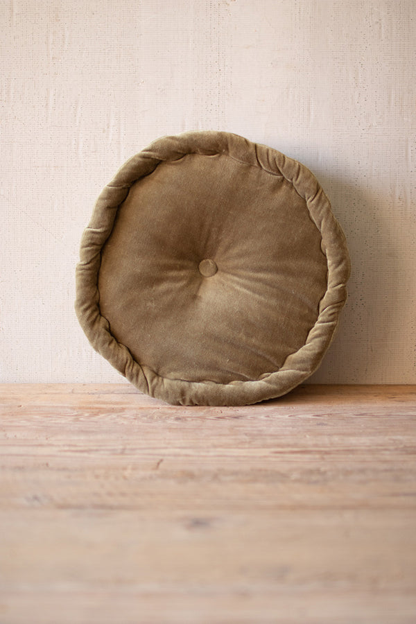 Round Velvet Floor Cushion  -  Avocado