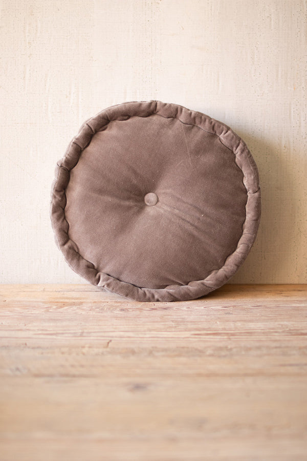 Round Velvet Floor Cushion  -  Cobblestone