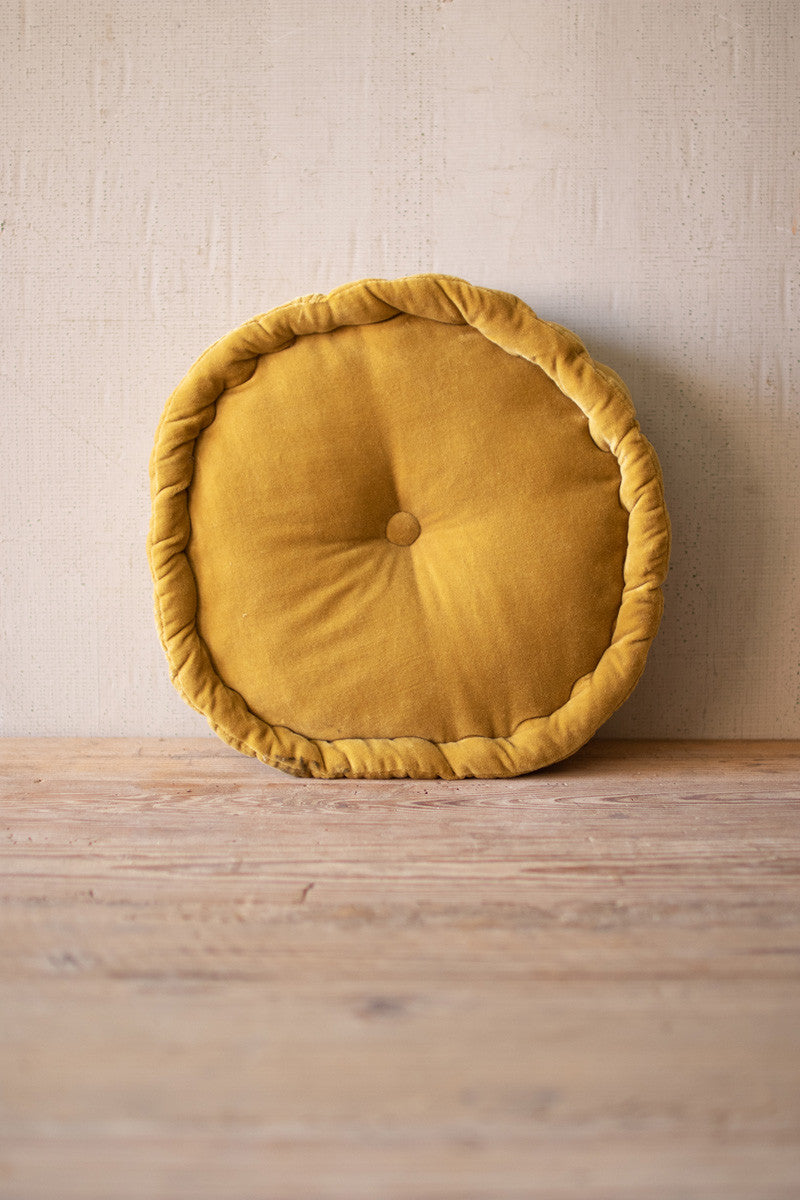 Round Velvet Floor Cushion  -  Honey